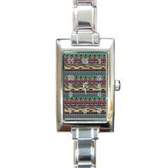 Aztec Pattern Cool Colors Rectangle Italian Charm Watch by BangZart