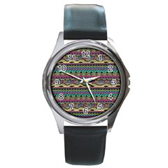 Aztec Pattern Cool Colors Round Metal Watch