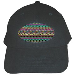 Aztec Pattern Cool Colors Black Cap