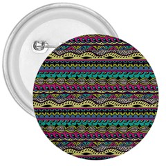 Aztec Pattern Cool Colors 3  Buttons