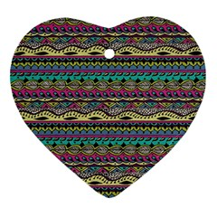 Aztec Pattern Cool Colors Ornament (heart)
