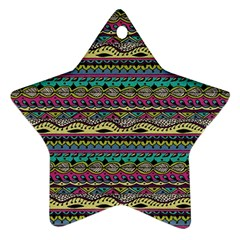 Aztec Pattern Cool Colors Ornament (star)
