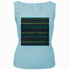 Aztec Pattern Cool Colors Women s Baby Blue Tank Top