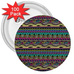 Aztec Pattern Cool Colors 3  Buttons (100 Pack)  by BangZart