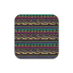 Aztec Pattern Cool Colors Rubber Square Coaster (4 Pack)  by BangZart