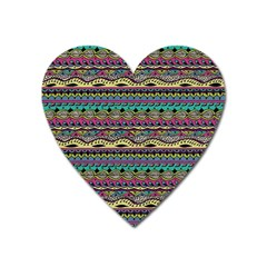Aztec Pattern Cool Colors Heart Magnet