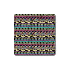 Aztec Pattern Cool Colors Square Magnet