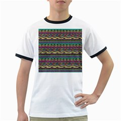 Aztec Pattern Cool Colors Ringer T Shirts by BangZart