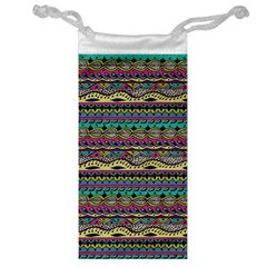 Aztec Pattern Cool Colors Jewelry Bag by BangZart