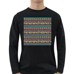 Aztec Pattern Cool Colors Long Sleeve Dark T Shirts by BangZart