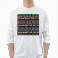 Aztec Pattern Cool Colors White Long Sleeve T Shirts by BangZart