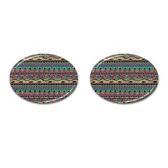 Aztec Pattern Cool Colors Cufflinks (oval) by BangZart