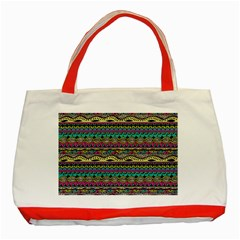 Aztec Pattern Cool Colors Classic Tote Bag (red)