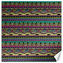 Aztec Pattern Cool Colors Canvas 16  X 16