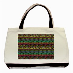 Aztec Pattern Cool Colors Basic Tote Bag (two Sides) by BangZart