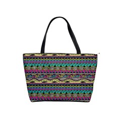 Aztec Pattern Cool Colors Shoulder Handbags by BangZart