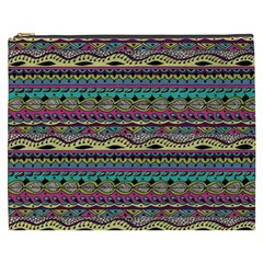 Aztec Pattern Cool Colors Cosmetic Bag (xxxl)  by BangZart