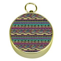 Aztec Pattern Cool Colors Gold Compasses