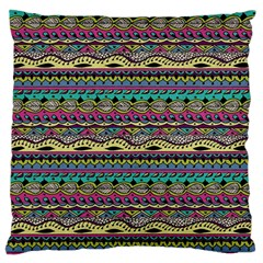 Aztec Pattern Cool Colors Large Flano Cushion Case (two Sides)