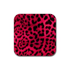 Leopard Skin Rubber Square Coaster (4 Pack)  by BangZart