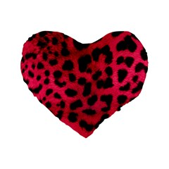 Leopard Skin Standard 16  Premium Heart Shape Cushions