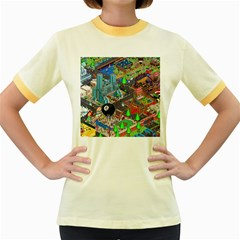 Pixel Art City Women s Fitted Ringer T Shirts