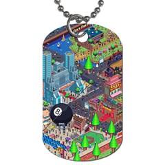 Pixel Art City Dog Tag (two Sides) by BangZart