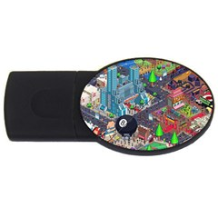 Pixel Art City Usb Flash Drive Oval (2 Gb) by BangZart