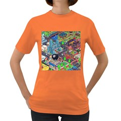 Pixel Art City Women s Dark T Shirt by BangZart