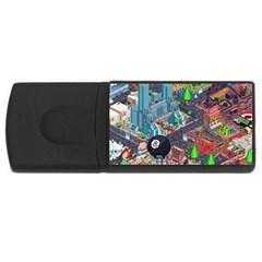 Pixel Art City Usb Flash Drive Rectangular (4 Gb) by BangZart