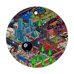 Pixel Art City Round Ornament (two Sides) by BangZart