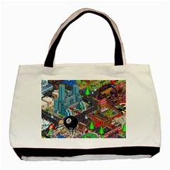 Pixel Art City Basic Tote Bag (two Sides)