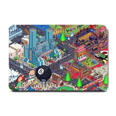Pixel Art City Small Doormat  by BangZart
