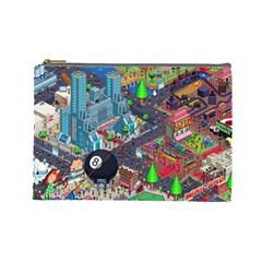 Pixel Art City Cosmetic Bag (large)  by BangZart