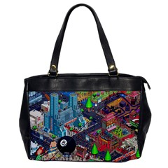 Pixel Art City Office Handbags by BangZart