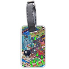 Pixel Art City Luggage Tags (two Sides) by BangZart