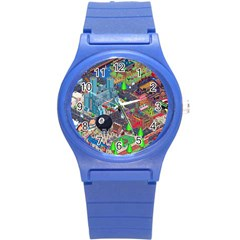 Pixel Art City Round Plastic Sport Watch (s) by BangZart