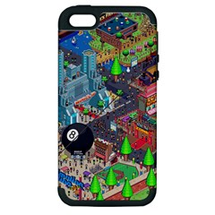 Pixel Art City Apple Iphone 5 Hardshell Case (pc+silicone) by BangZart