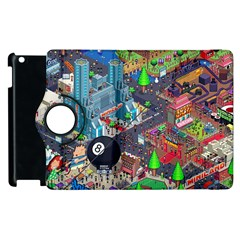 Pixel Art City Apple Ipad 3/4 Flip 360 Case by BangZart