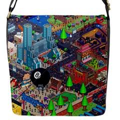 Pixel Art City Flap Messenger Bag (s) by BangZart