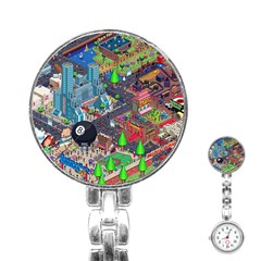 Pixel Art City Stainless Steel Nurses Watch