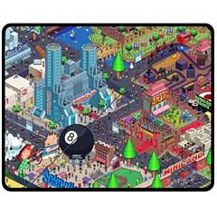 Pixel Art City Double Sided Fleece Blanket (medium)  by BangZart