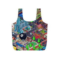 Pixel Art City Full Print Recycle Bags (s)  by BangZart
