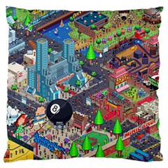 Pixel Art City Large Flano Cushion Case (two Sides) by BangZart