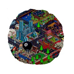 Pixel Art City Standard 15  Premium Flano Round Cushions by BangZart