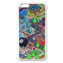 Pixel Art City Apple Iphone 6 Plus/6s Plus Enamel White Case