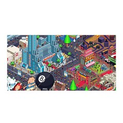 Pixel Art City Satin Wrap