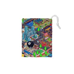 Pixel Art City Drawstring Pouches (xs)