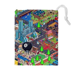 Pixel Art City Drawstring Pouches (extra Large)