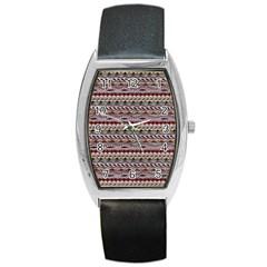Aztec Pattern Patterns Barrel Style Metal Watch